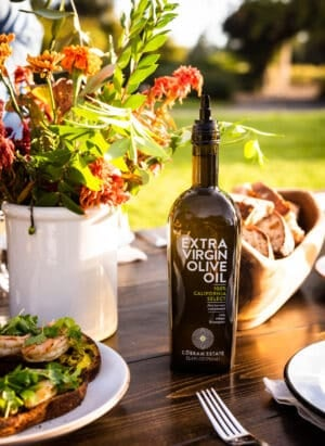 Bottle of Cobram Estate Extra Virgin Olive Oil at 2019 Cobram Estate Harvest.