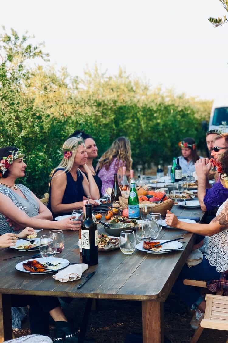 Dinner in the olive groves during the Cobram Estate Harvest 2019.