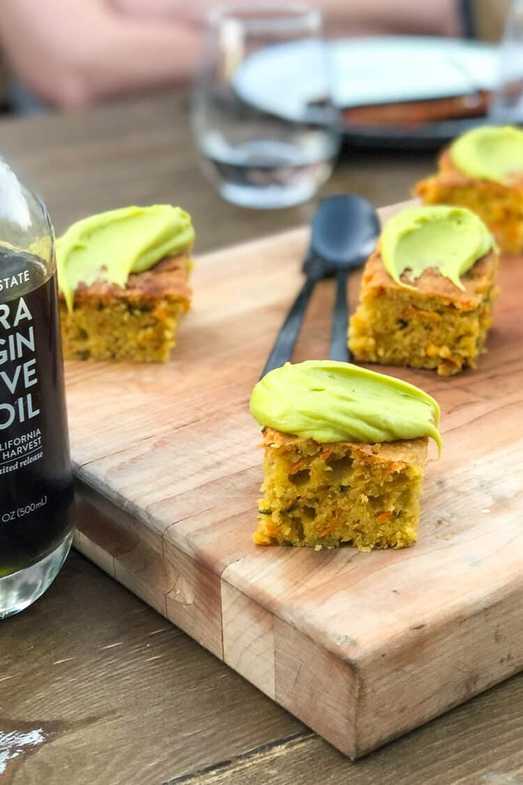 Carrot Olive Oil Cake with Olive Oil Frosting by Chef Kevin O'Conner at the Cobram Estate Harvest Tour 2019.
