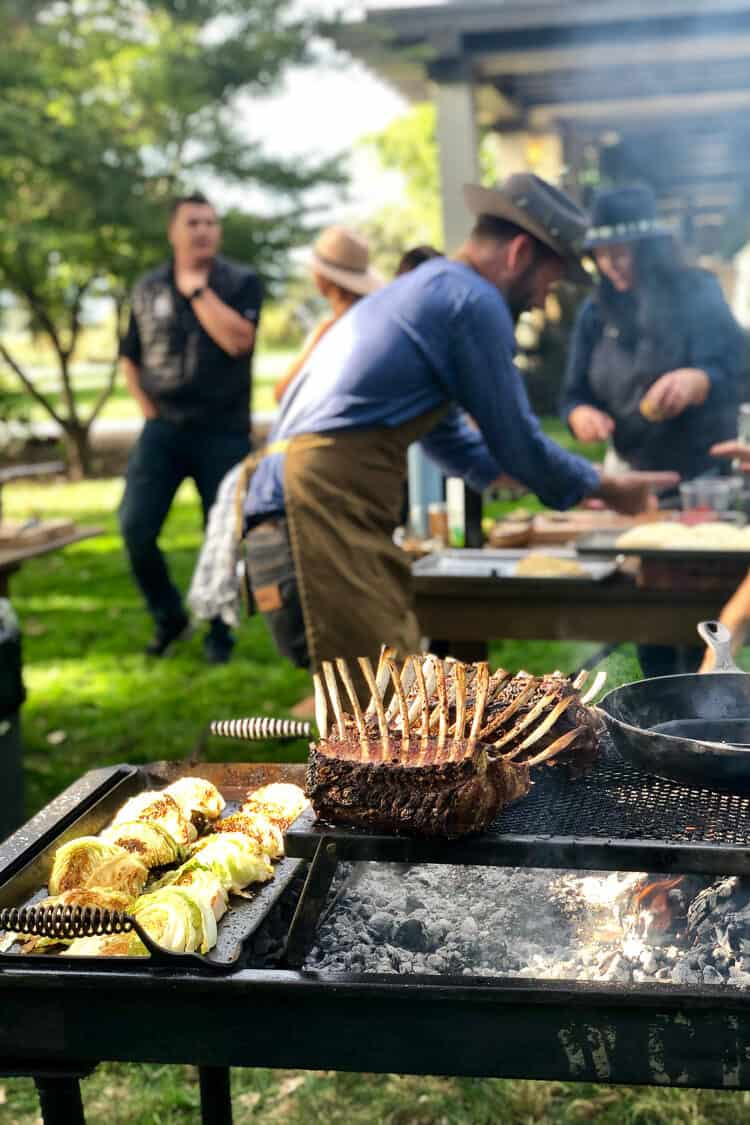 Cooking with olive oil on the grill at the Cobram Estate Harvest 2019.