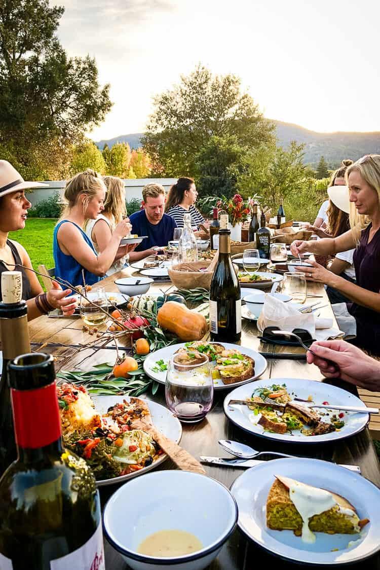 The dinner table at the Cobram Estate Harvest Celebration 2019.