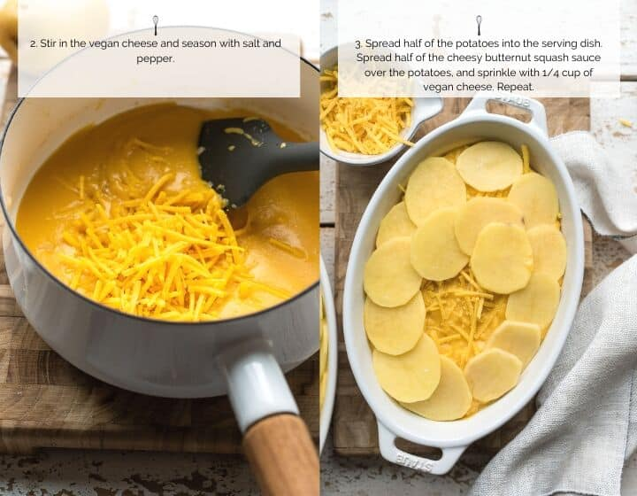 Step by step instructions for how to make Butternut Squash Scalloped Potatoes