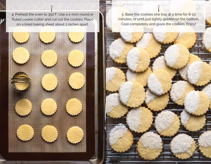 Step by step instructions for making Coconut Shortbread Cookies.