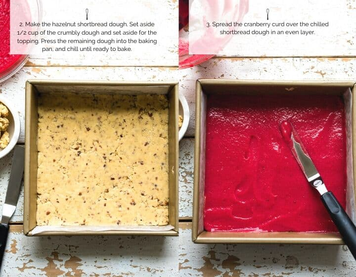Step by step instructions for how to make Cranberry Curd and Hazelnut Shortbread Bars.