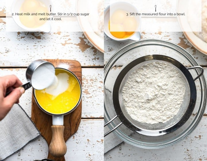 Step by Step Instructions for How to Make Ensaymada: Melting butter in milk and sifting flour.
