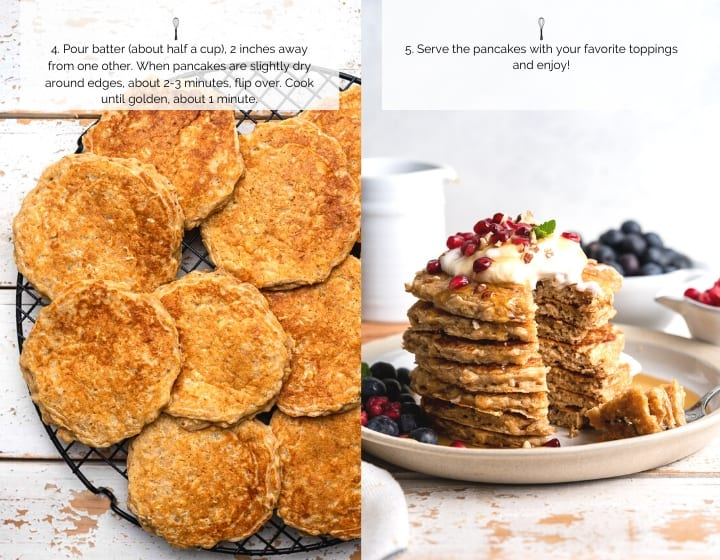 Step by Step Instructions for How to Make Oatmeal Pancakes | Pancakes ready to serve.