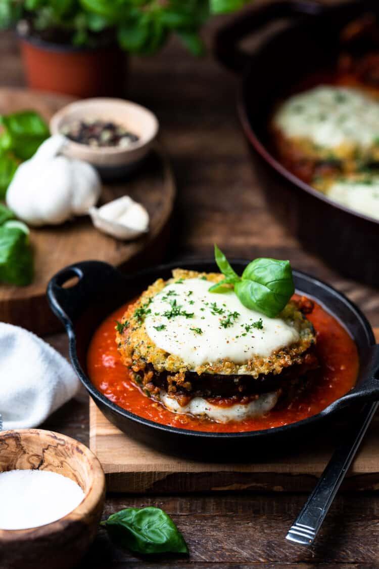 Quinoa Crusted Eggplant Parmesan