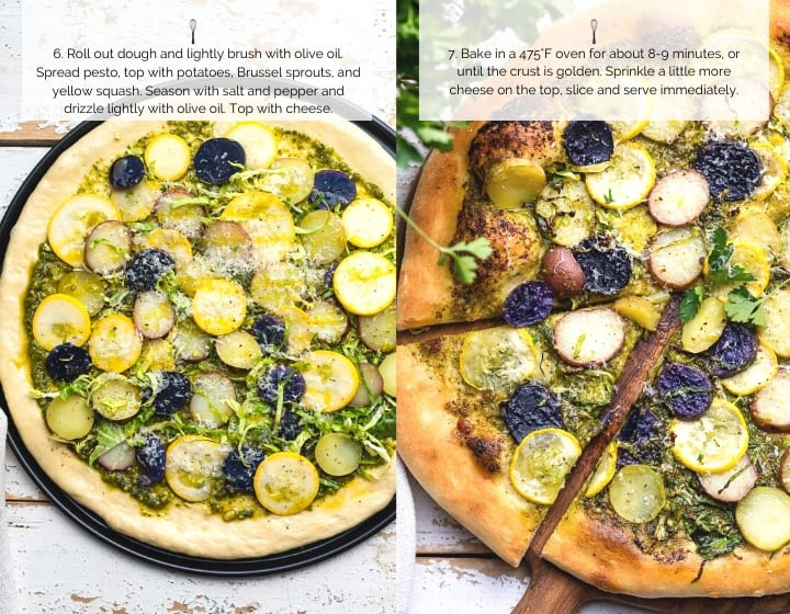 How to Make How to Make Potato Pizza with Pesto, Brussels Sprouts, and Yellow Squash, step by step.