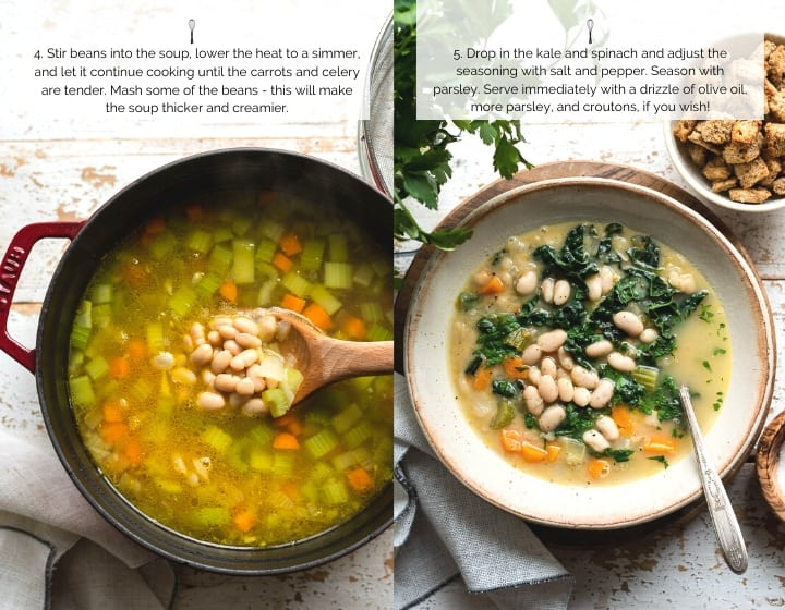 Step by step instructions for how to make White Bean Soup with Kale.