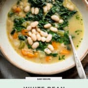 White Bean Soup with Kale and Spinach