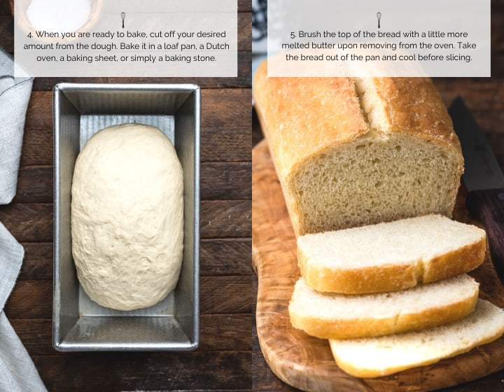 Step by step instructions for how to make No-Knead Buttermilk Bread.