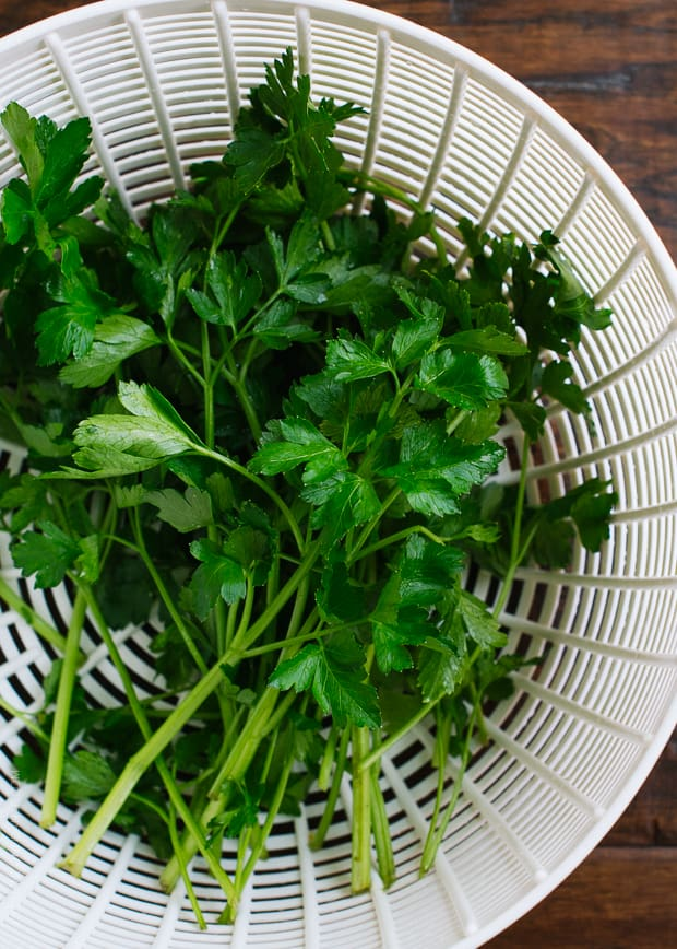Parsley washed in a salad spinner.