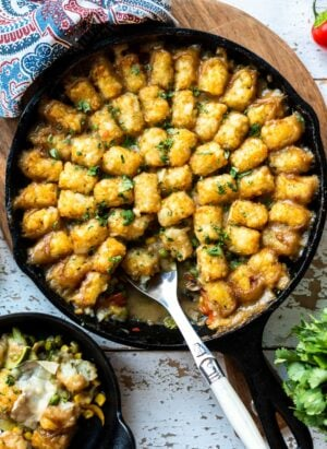 Vegetarian Tater Tot Casserole in a cast iron pan.