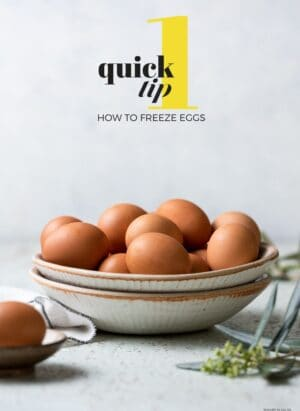 Brown eggs in a cream colored bowl that can be used to freeze eggs.