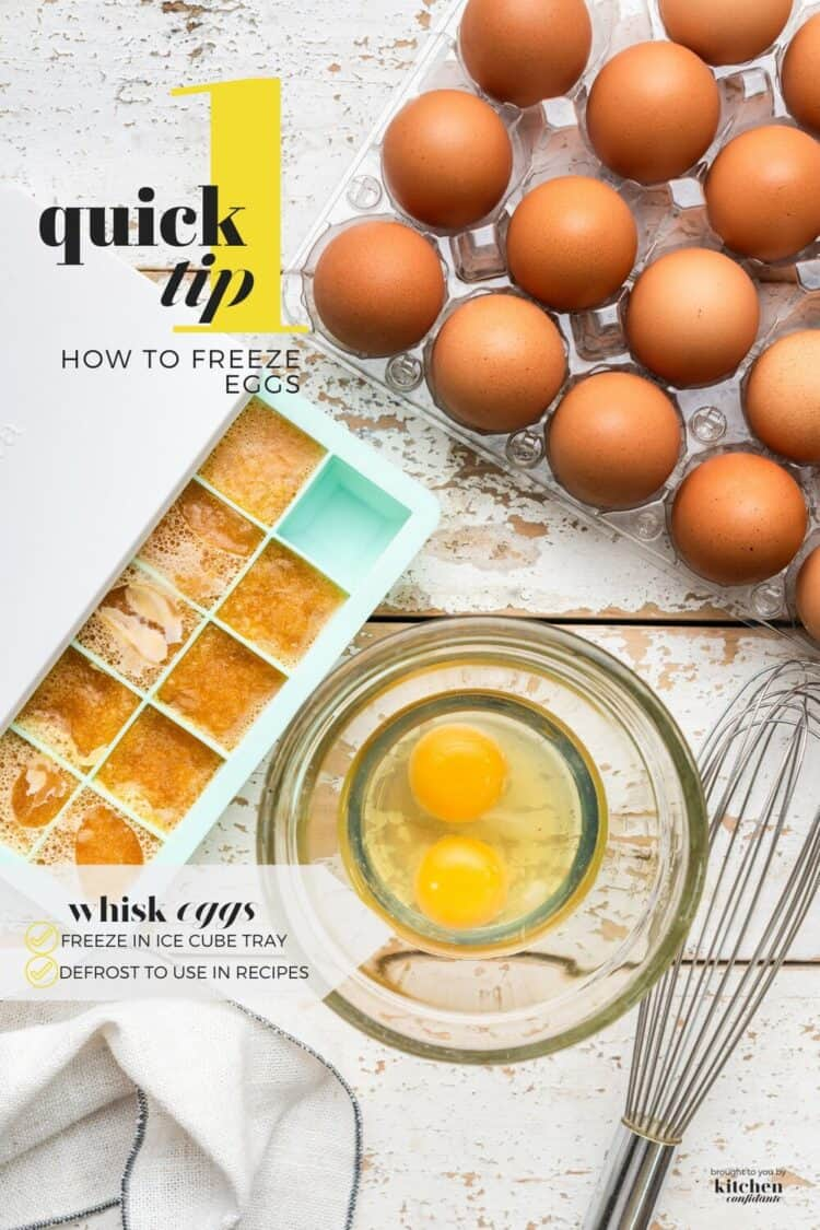 Step by step instructions for how to freeze eggs in an ice cube tray.