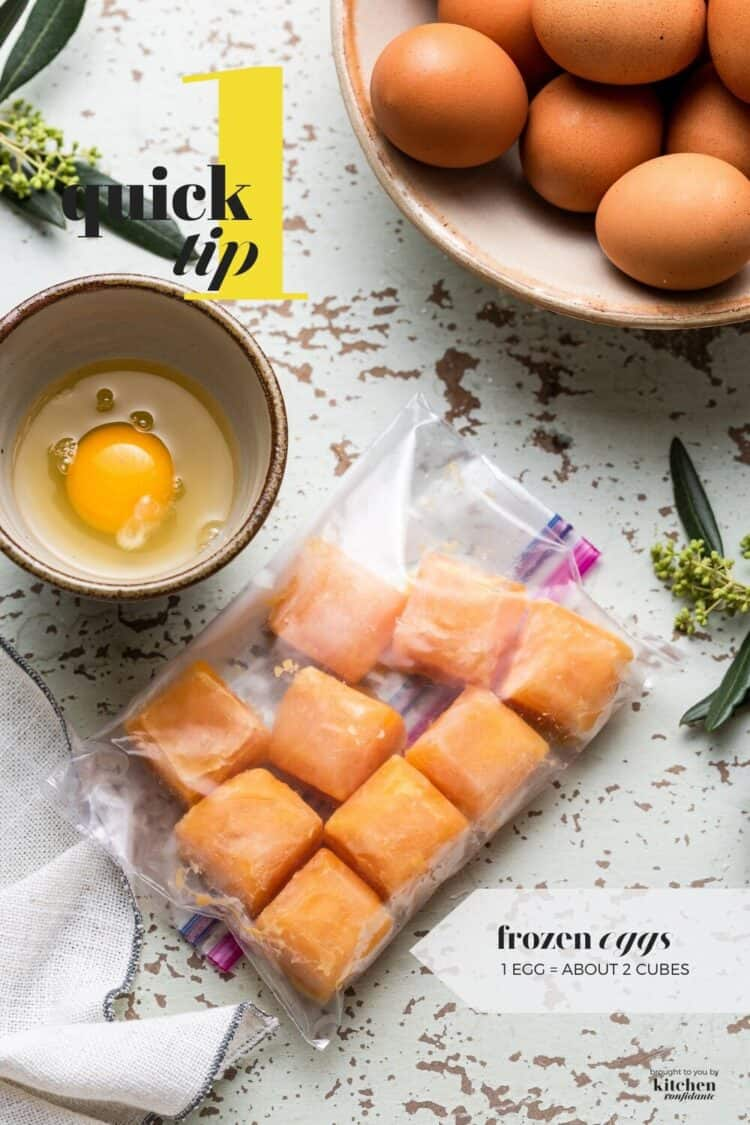 Frozen eggs in a resealable plastic bag.