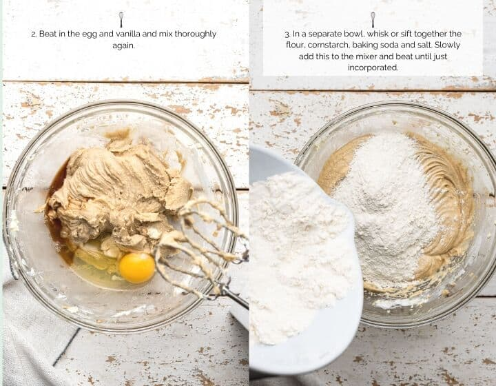 Step by step instructions for how to make soft and chewy cookies: beating egg and vanilla and adding flour mixture.