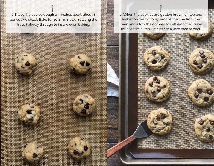 Step by step instructions for how to make soft and chewy cookies: balls of cookie dough on a cookie sheet and fully baked cookies.