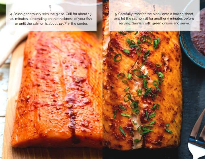 Step by step instructions for how to make Plank Grilled Salmon with Honey Chipotle Glaze.