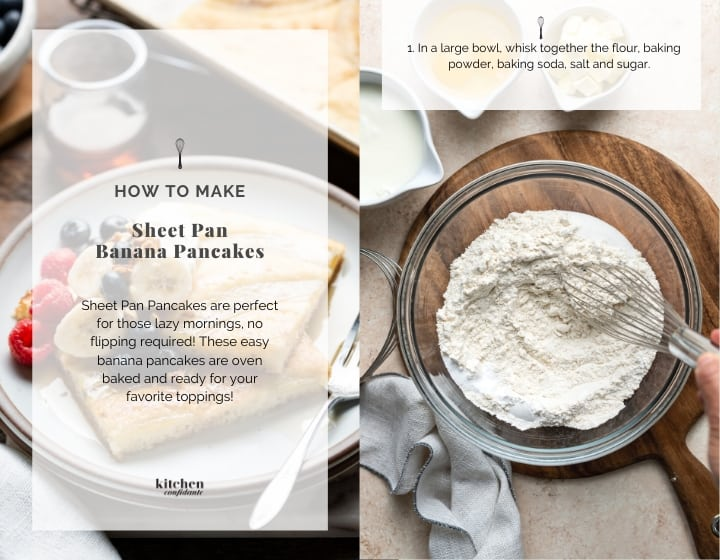 Step by step instructions for how to make sheet pan banana pancakes: mixing the flour.