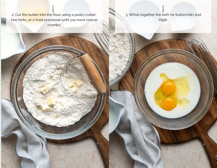 Step by step instructions for how to make sheet pan banana pancakes: adding butter and mixing eggs and kefir or buttermilk.
