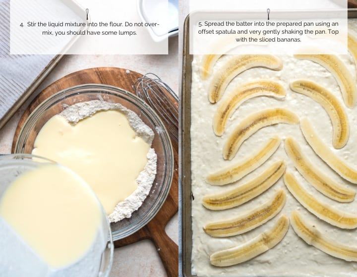 Step by step instructions for how to make sheet pan banana pancakes: Mixing the batter and spreading on a sheet pan.