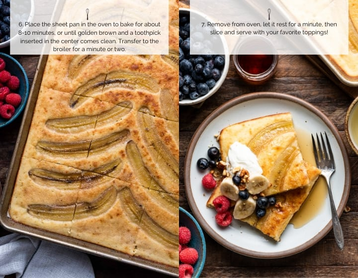 Step by step instructions for how to make sheet pan banana pancakes: baking the pancakes and serving.