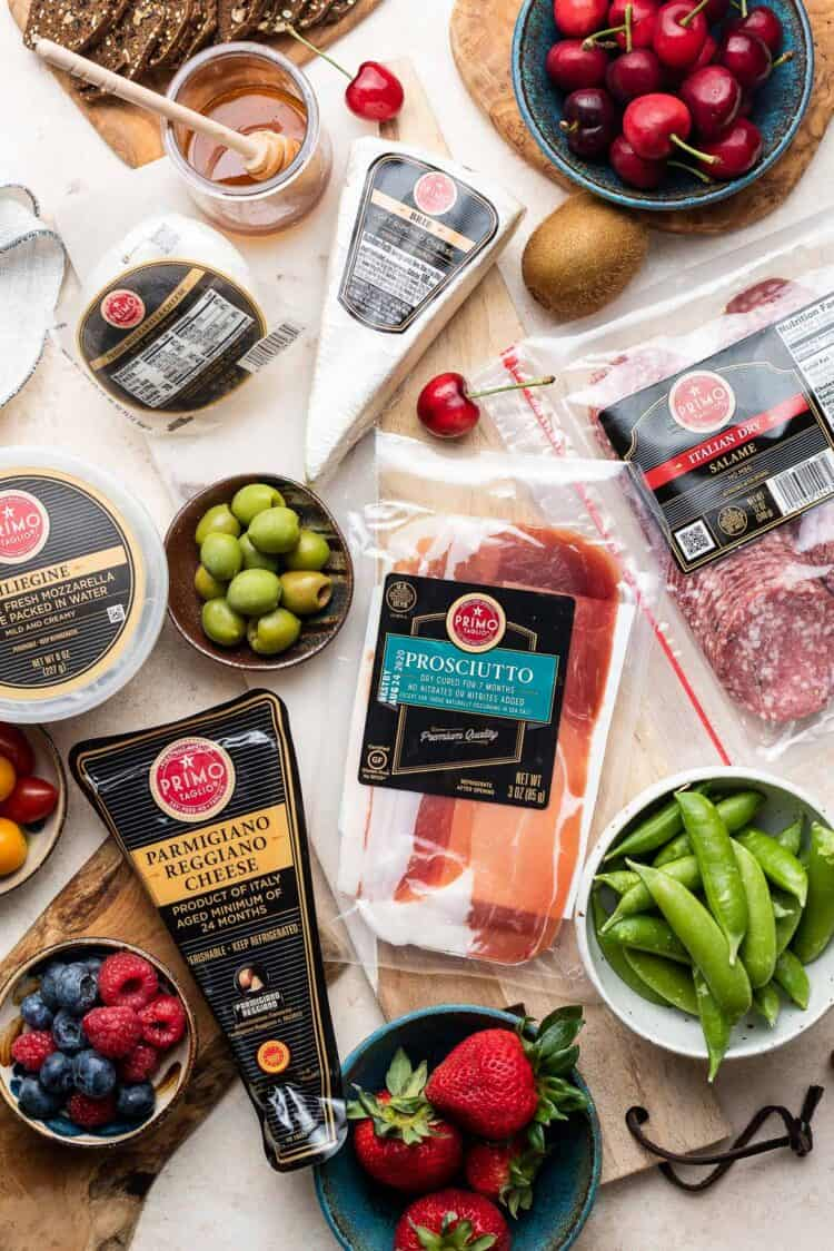 Primo Taglio meats and cheeses used to build the perfect charcuterie board.