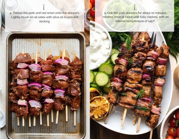 Step by step instructions for how to make Grilled Pork Skewers.