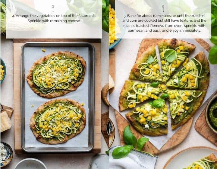 Step by step instructions for how to make Zucchini Corn and Pesto Flatbreads.