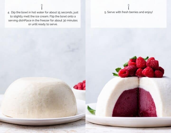 Step by step instructions for how to make Vanilla Raspberry Ice Cream Bombe.