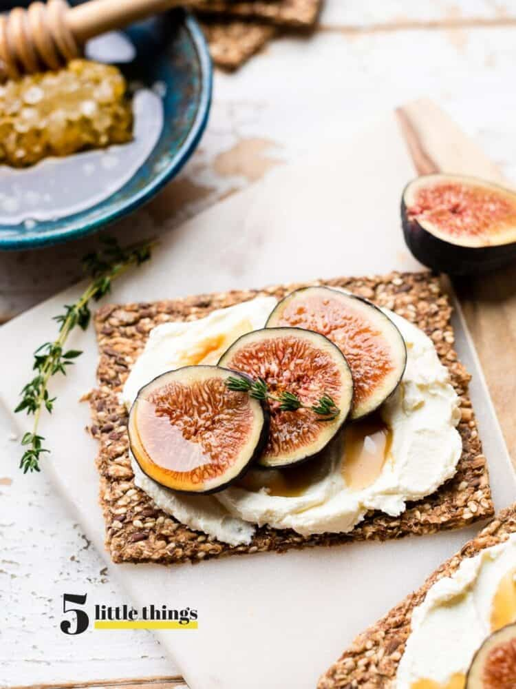 Figs with goat cheese on a cracker are one Five Little Things I loved the week of August 21, 2020.