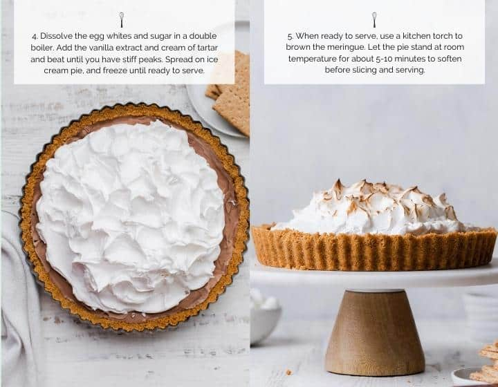 Step by step instructions for how to make S'mores Ice Cream Pie.