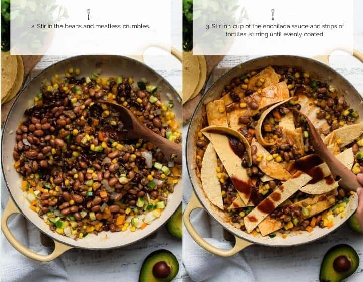 Step by step instructions for how to make Vegetarian Enchilada Skillet Casserole.