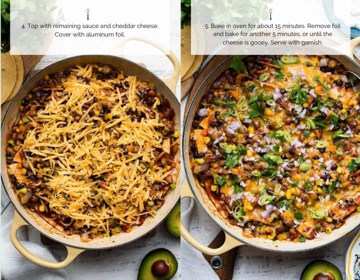 Step by step instructions for how to make Vegetarian Enchilada Skillet Casserole.