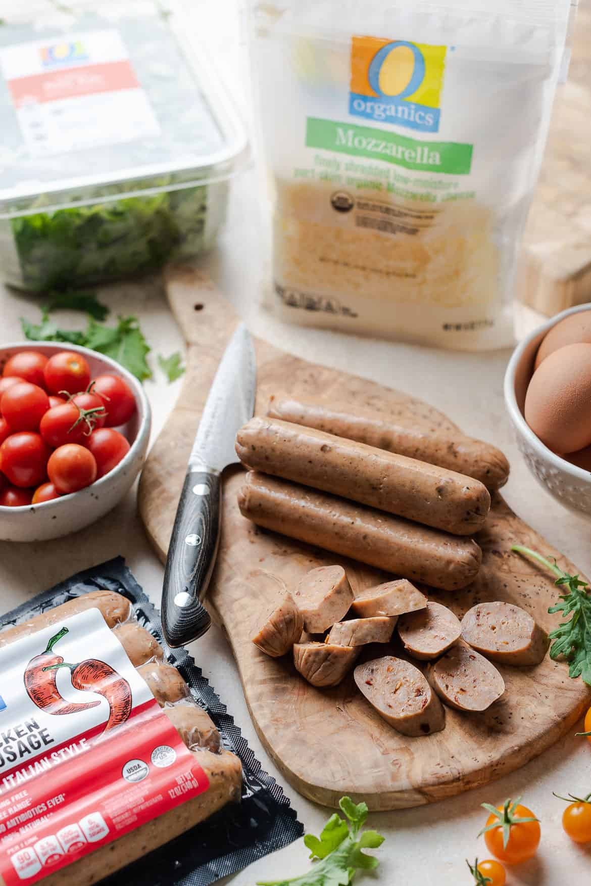 O Organics ingredients used to make an Italian sausage frittata.