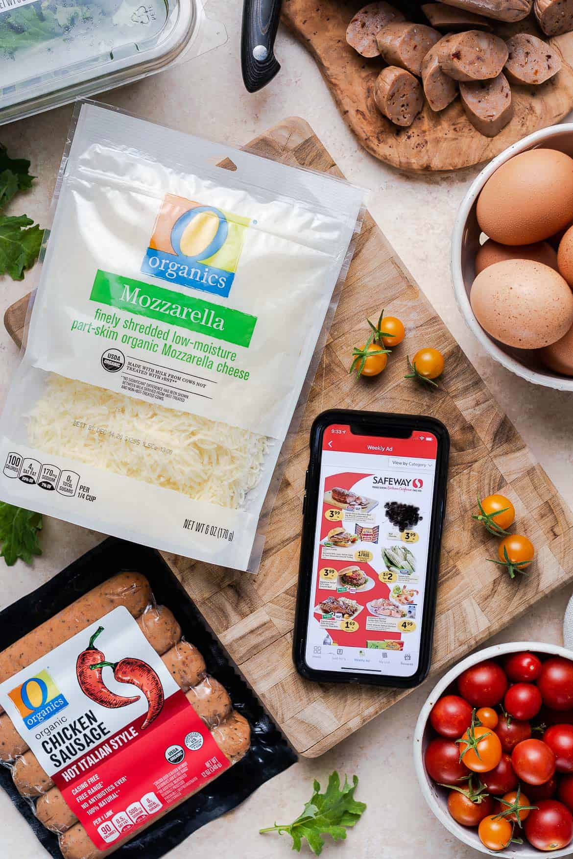 Shopping for O Organics products on Safeway app for Sausage and Kale Frittata.