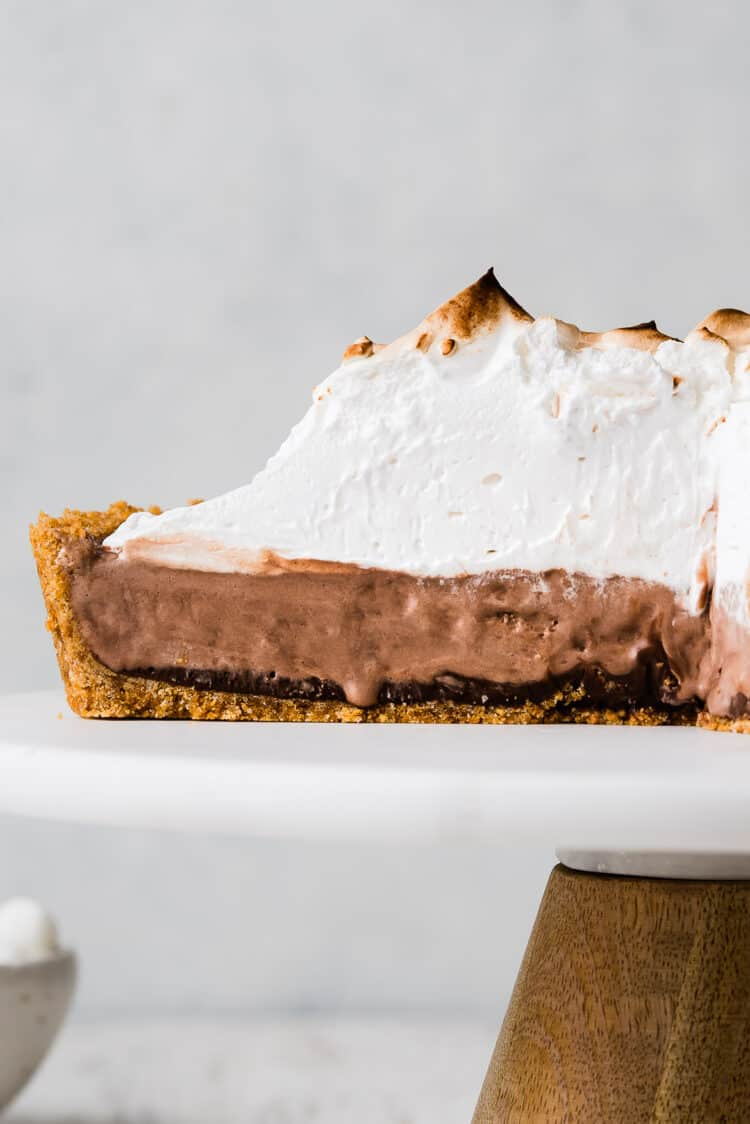 S'mores Ice Cream Pie sliced on a cake stand.