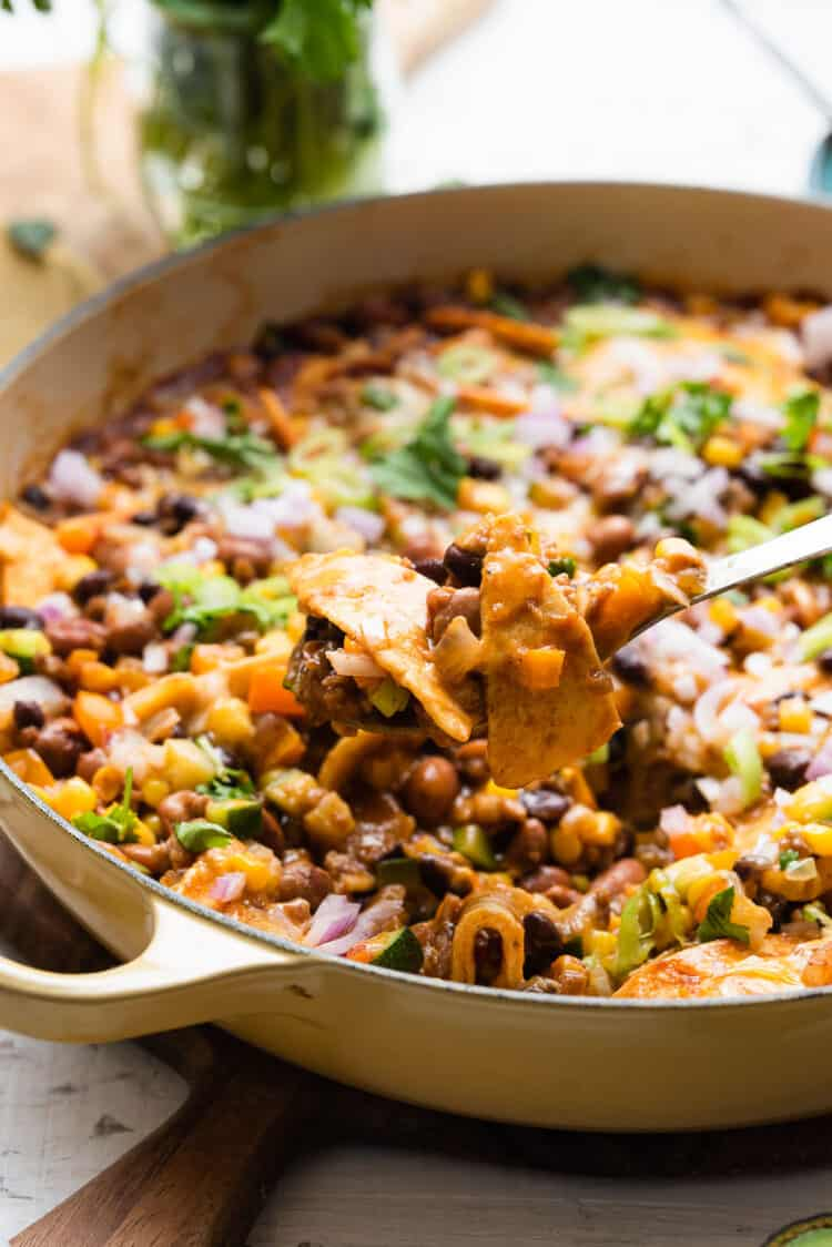 A spoonful of Vegetarian Enchilada Skillet Casserole.