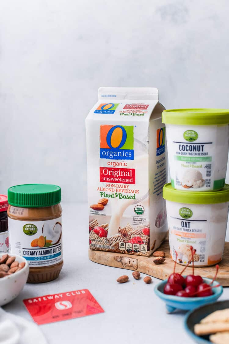 O Organics and Open Nature products used in an Almond Butter and Jelly Vegan Milkshake.