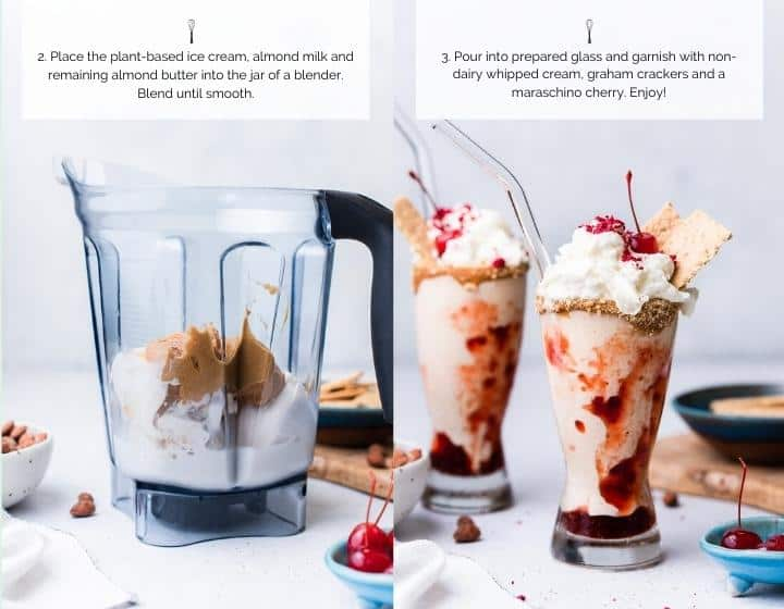 Step by step instructions for how to make an Almond utter and Jelly Vegan Milkshake.