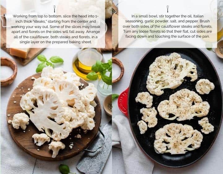 Step by step instructions for Baked Cauliflower Parmesan