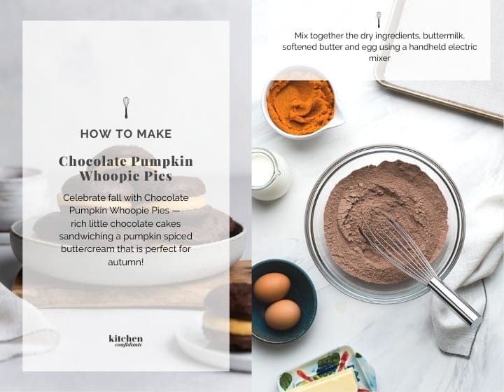 Step by step instructions for how to make Chocolate Pumpkin Whoopie Pies.