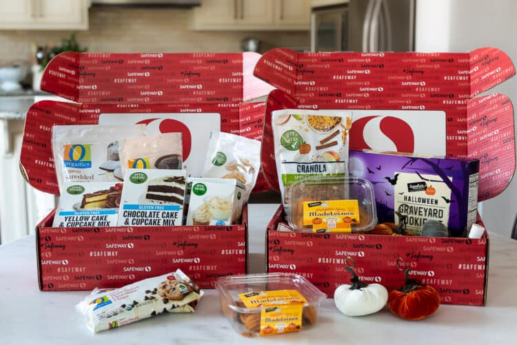 Boxes of Own Brands from Safeway with O Organics and Open Nature products for fall.