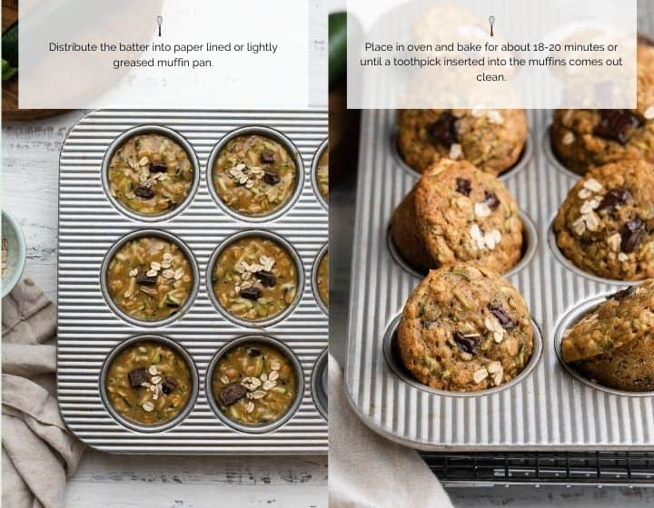 Step by step instructions for how to make Zucchini Oat Chocolate Chunk Muffins