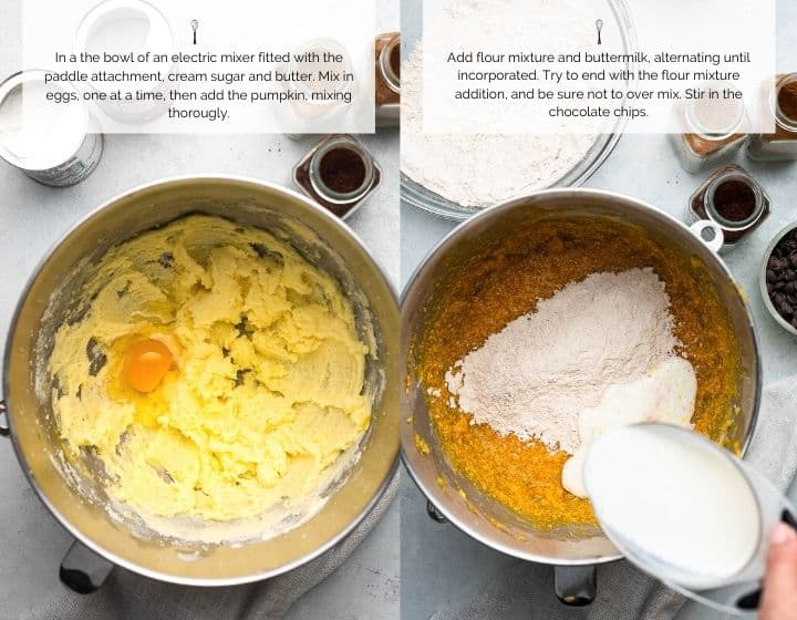 Step by step instructions for how to make Chocolate Chip Pumpkin Bread: Creaming butter and sugar and adding dry ingredients.