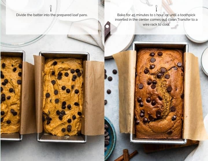 A collage image showing a prepared pan of pumpkin bread and the finished result after baking.