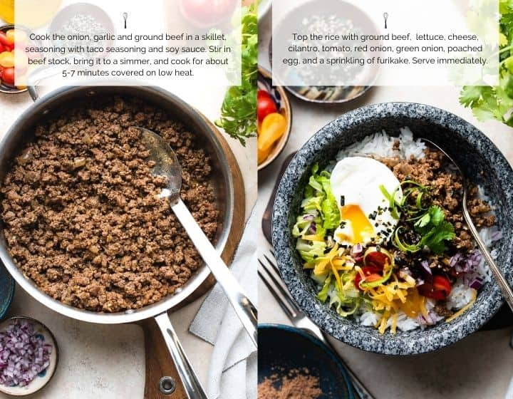 Step by step instructions for how to make taco rice.