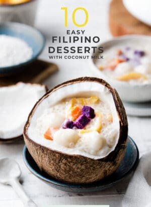 Ginataang Bilo Bilo in a coconut shell is one of 10 Easy Filipino Desserts with Coconut Milk