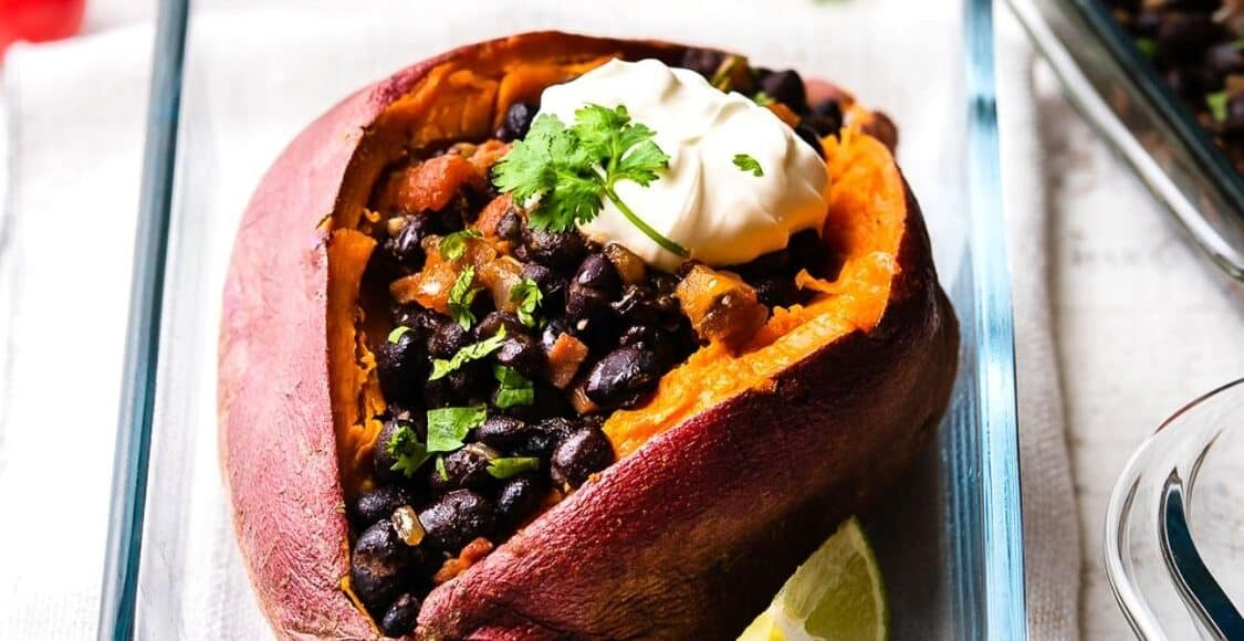 Chipotle Black Bean Sweet Potato in a glass dish is one of Five Little Things I loved the week of November 13, 2020.